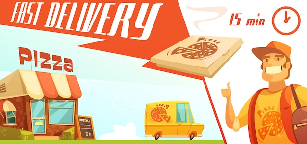 Entrega rápida del concepto de diseño de pizza con minibús amarillo pizzería mensajero vector gratuito