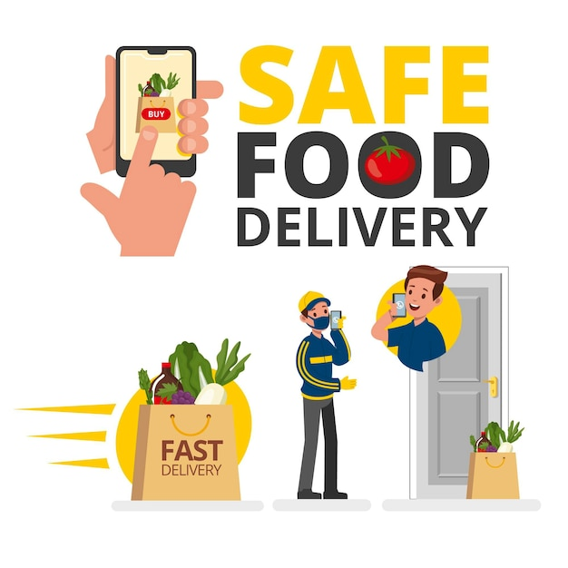 Entrega segura de alimentos con teléfono inteligente vector gratuito