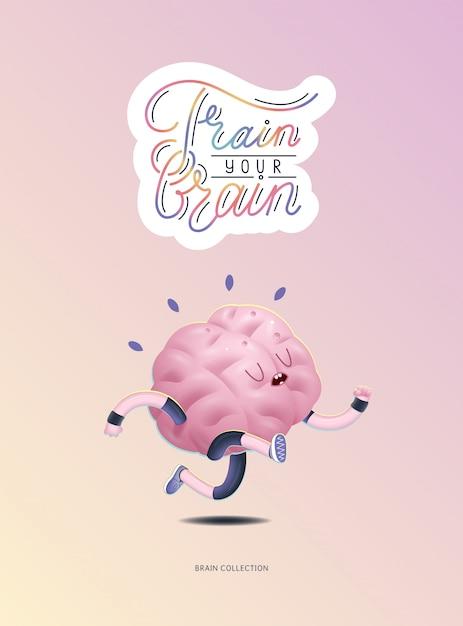 Entrena tu cerebro cartel con letras, corriendo Vector Premium