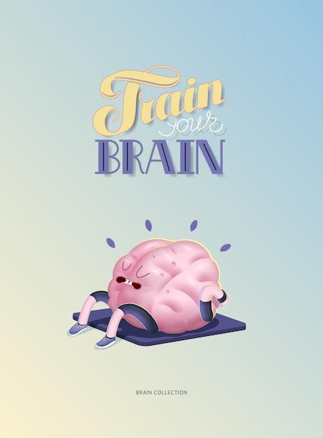 Entrena tu cerebro cartel con letras, cuerpo arriba Vector Premium