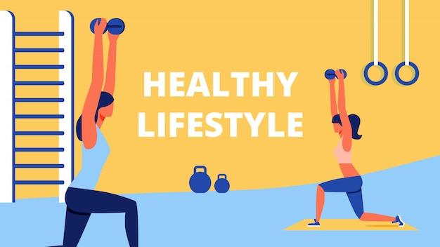 Entrenamiento deportivo para mujeres estilo de vida saludable Vector Premium