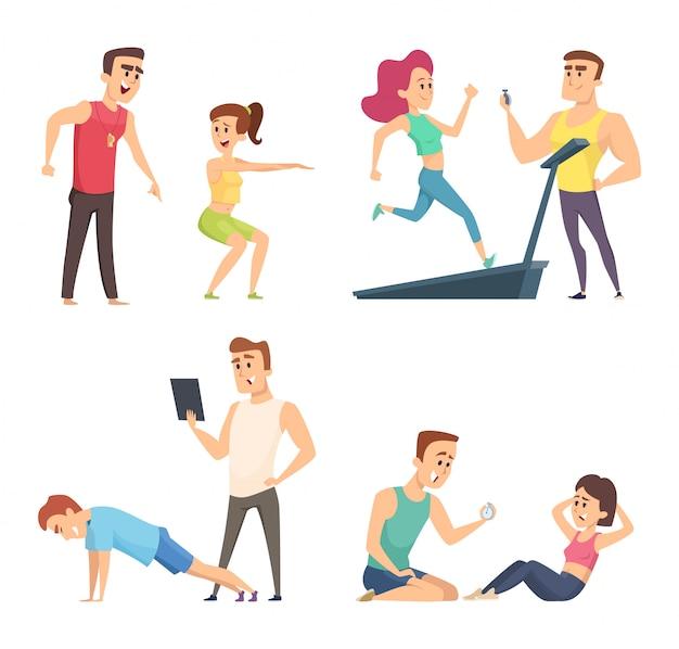 Entrenamiento de gimnasio. establecer personajes deportivos de dibujos animados Vector Premium