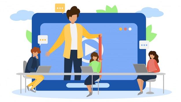 Entrenamiento en línea de la tecnología del webinar de internet en la ilustración de la pantalla gente hombre mujer personaje web conferencia comunicación Vector Premium