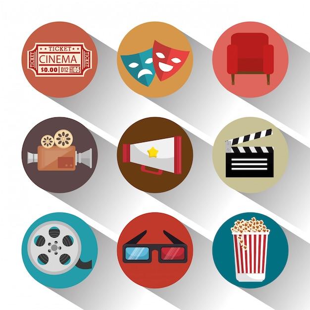Entretenimiento de cine set iconos vector gratuito
