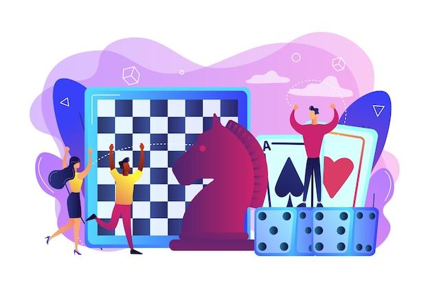 Entretenimiento de gente pequeña jugando y ganando ajedrez, cartas de juego y dados. juego de mesa, actividad de tiempo libre, concepto de actividad para toda la familia. vector gratuito