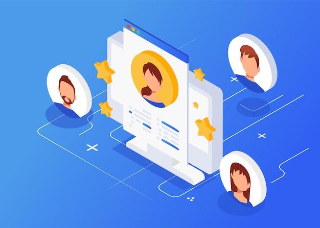 Entrevista isométrica con el candidato, freelance, empleo, reclutamiento. Vector Premium