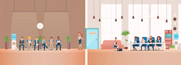 Entrevista de trabajo y reclutamiento. ilustracion vectorial vector gratuito