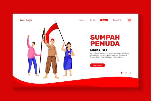 Entusiasmo de los jóvenes para conmemorar el día del juramento de la juventud de indonesia por el juramento de la juventud del diseño de la página de inicio del sitio web Vector Premium