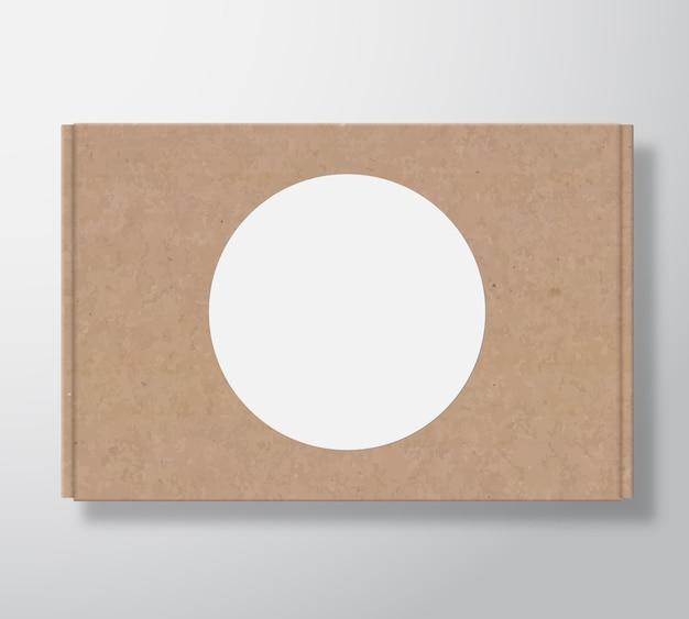 Envase de caja de cartón artesanal con plantilla de etiqueta redonda blanca transparente. vector gratuito
