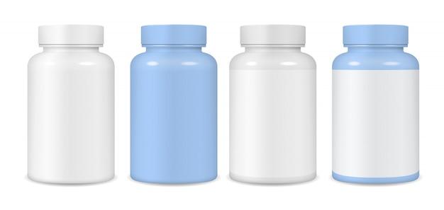 Envases de plástico para tabletas. Vector Premium