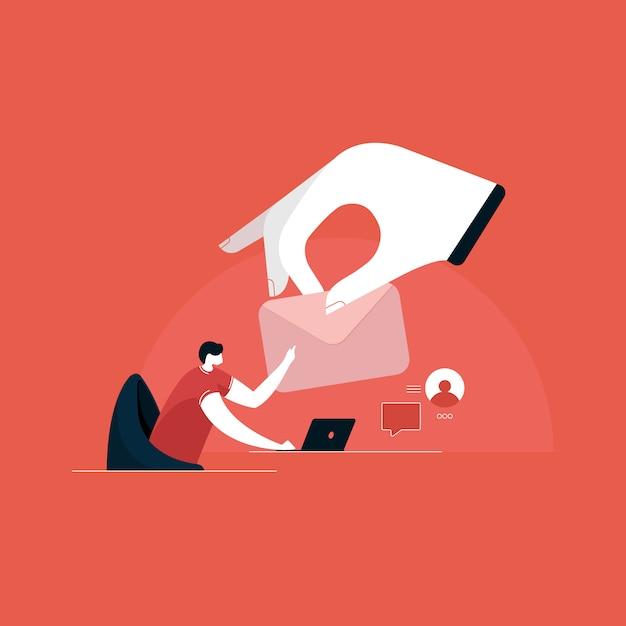 Enviar y recibir ilustración de correo, marketing por correo electrónico, conceptos de publicidad en internet Vector Premium