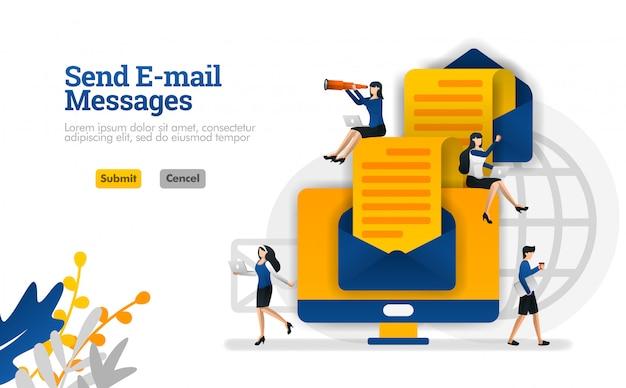 Envío de mensajes de correo electrónico y artículos de punta a punta. sobres y computadoras vector ilustración concepto Vector Premium