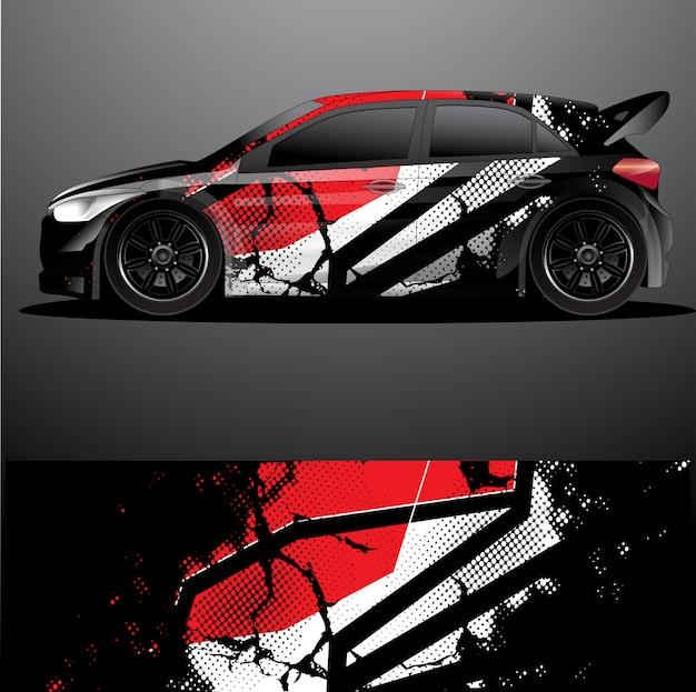 Envoltura gráfica de la etiqueta del coche de rally Vector Premium
