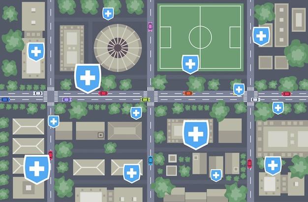 Epidemia mers-cov medical cross shield puntos indicados enfermedad propagación coronavirus infección wuhan 2019-ncov pandemia riesgo de salud mapa de la ciudad horizontal vista de ángulo superior Vector Premium