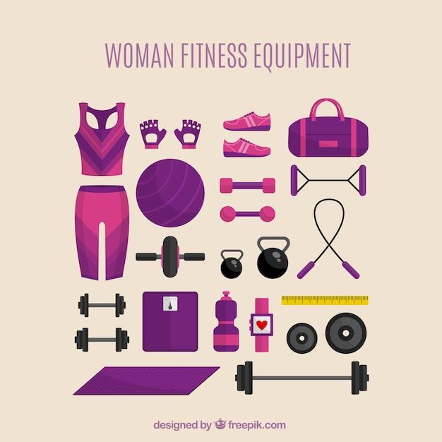 Equipamiento de fitness para mujer vector gratuito