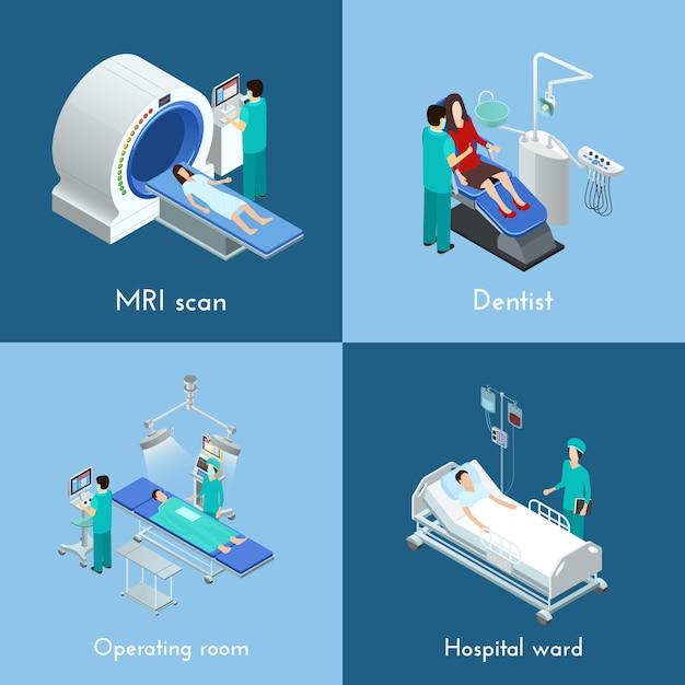 Equipamiento médico elementos isométricos Vector Premium