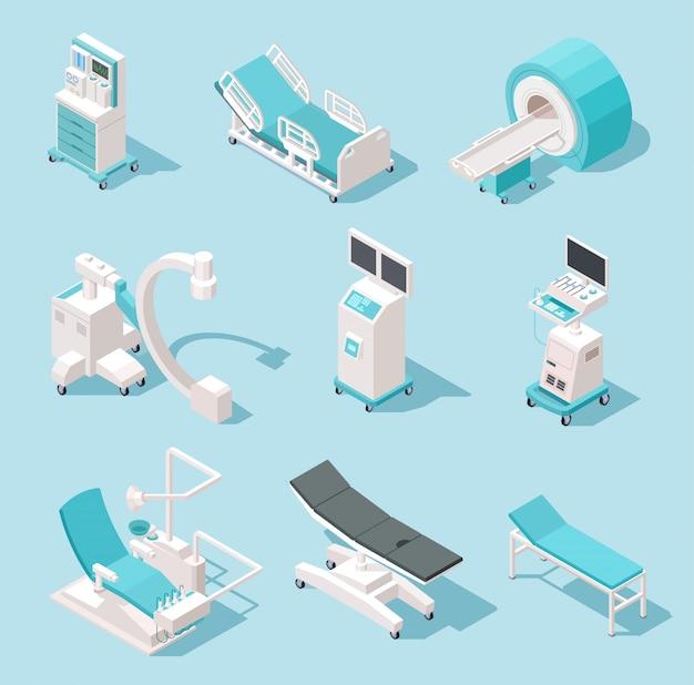 Equipamiento médico isométrico. herramientas de diagnóstico hospitalario. conjunto de máquinas 3d de tecnología de salud Vector Premium