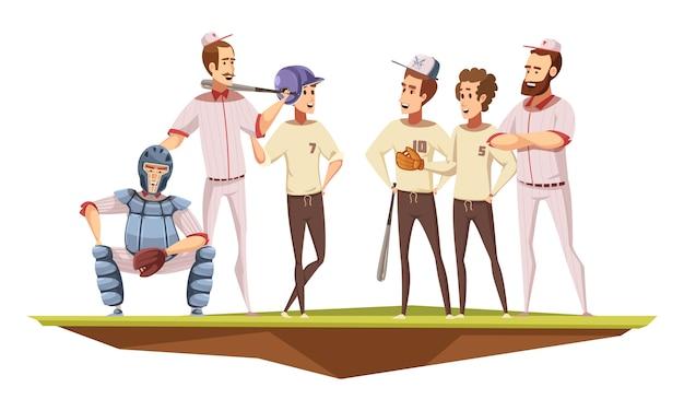 Equipo de béisbol de adolescentes varones en la discusión de entrenamiento uniforme con el entrenador en la ilustración de vector de dibujos animados retro de cartel de campo vector gratuito