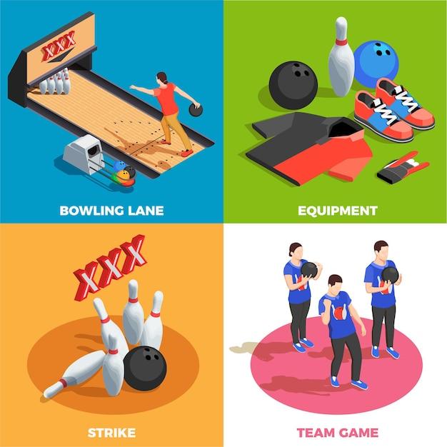 Equipo de bolos equipo de jugadores y posición de juego golpe concepto isométrico aislado vector gratuito
