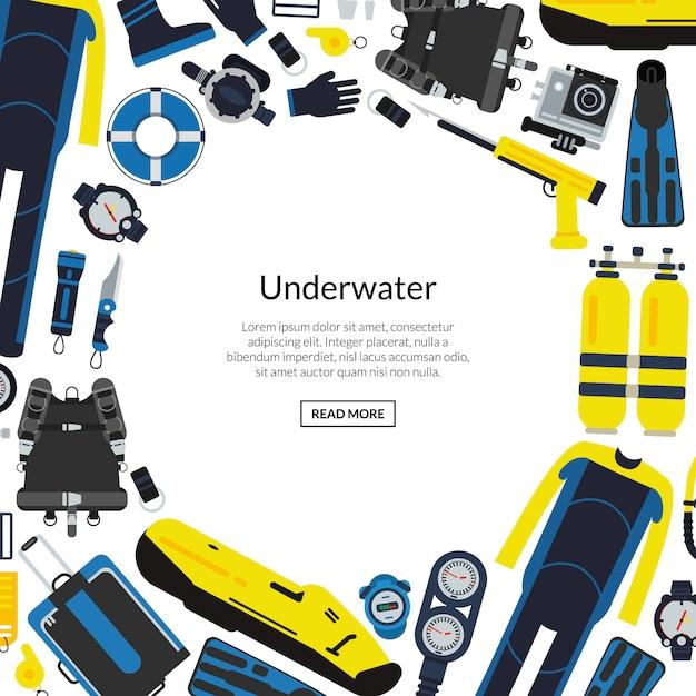 Equipo de buceo submarino con espacio vacío redondo para texto. Vector Premium