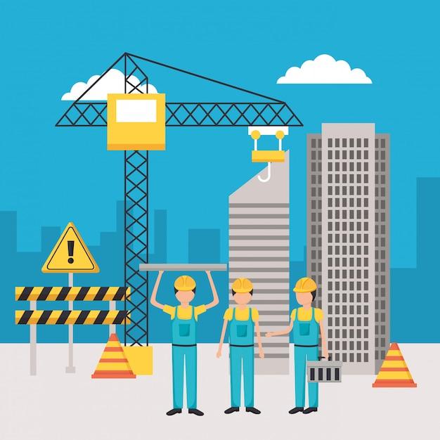 Equipo de construcción del trabajador vector gratuito