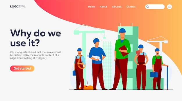 Equipo de construcción trabajando en la plantilla de página de destino del sitio vector gratuito