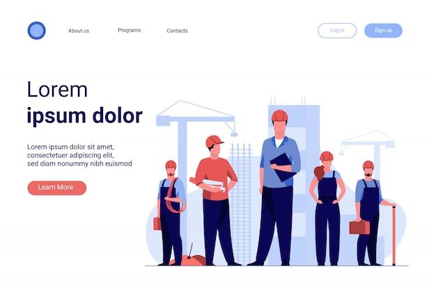 Equipo de construcción trabajando en el sitio. vector gratuito