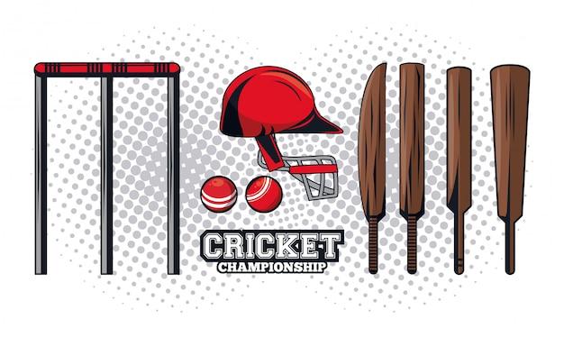 Equipo de cricket jugador Vector Premium