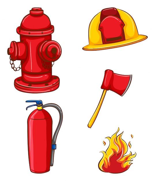 Equipo de bombero Vector Gratis