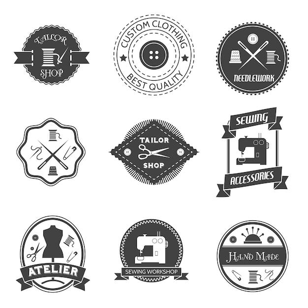 Equipo de costura taller sastre tienda etiqueta conjunto aislado ilustración vectorial Vector Gratis