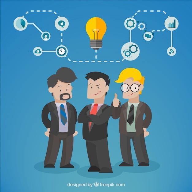 Equipo de negocios con una idea Vector Premium