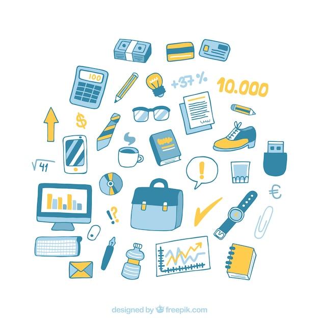 Equipo de oficina dibujado a mano descargar vectores premium for Equipo de oficina