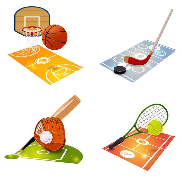 Equipo deportivo concepto conjunto vector gratuito