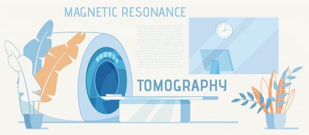 Equipo para diagnóstico de resonancia magnética anuncio de dibujos animados Vector Premium