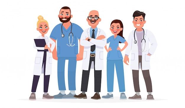 Equipo de doctores. un grupo de trabajadores del hospital. personal medico Vector Premium