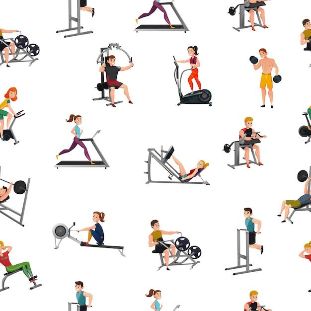 Equipo de ejercicio de patrones sin fisuras vector gratuito