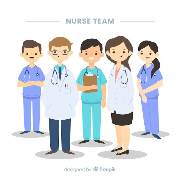 Equipo de enfermería en diseño plano vector gratuito