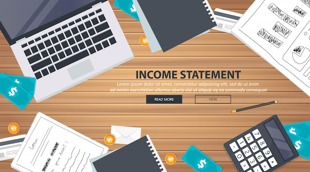 Equipo de escritorio de declaración de ingresos Vector Premium