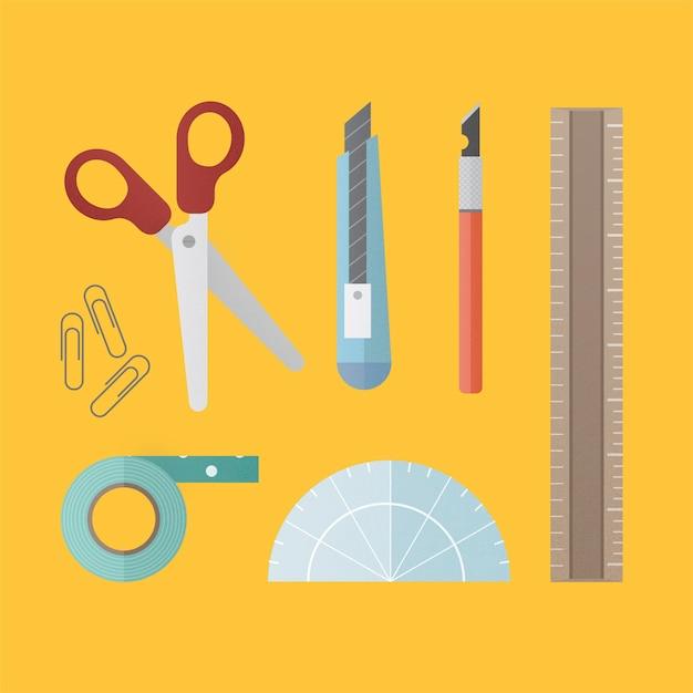 Equipo estacionario de herramientas de oficina vector gratuito
