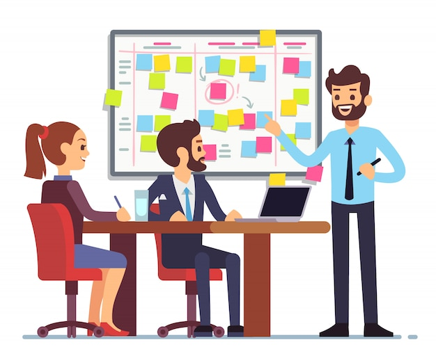 El equipo de estudiantes trabaja en el proceso de tareas programado en la sala de capacitación con la junta de planificación scrum. Vector Premium