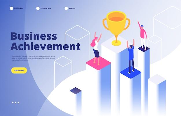 Equipo de éxito isométrico. triunfo de negocios logro misión corporativa mejor premio concurso ganador objetivo fondo Vector Premium