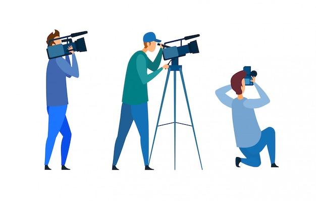 Equipo de filmación, conferencia de prensa, ilustración vectorial Vector Premium
