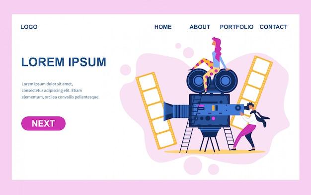 Equipo de filmación con equipo de video creación de películas Vector Premium