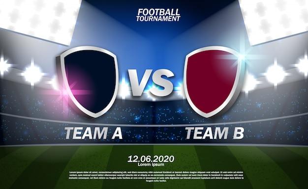 Equipo de fútbol de fútbol versus equipo con ilustración de campo de estadio Vector Premium