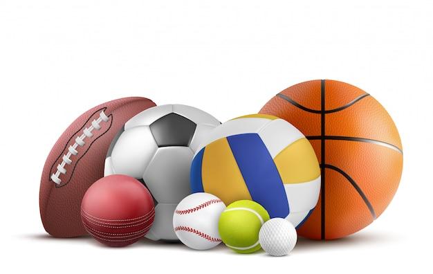 Equipo de fútbol, voleibol, béisbol y rugby. vector gratuito