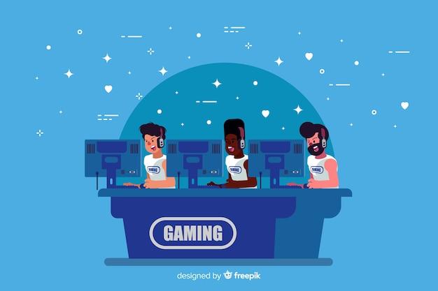 Equipo jugando con el ordenador vector gratuito
