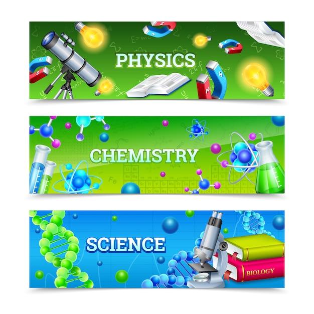 Equipo de laboratorio de ciencias banners horizontales vector gratuito