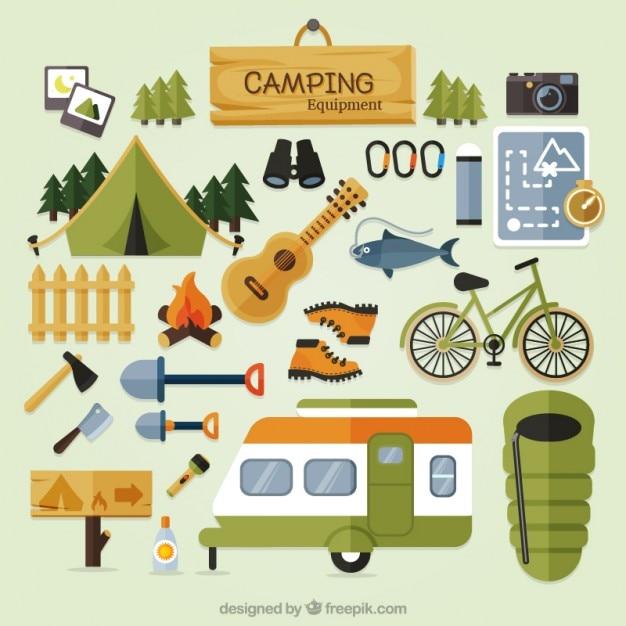 Equipo lindo camping en diseño plano vector gratuito