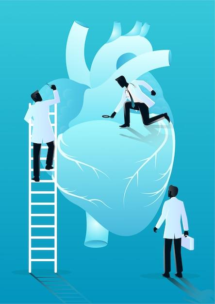 Equipo de médicos diagnostica corazón humano Vector Premium