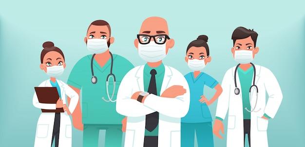 Equipo de médicos en máscaras médicas protectoras. la lucha contra el  coronavirus covid-19. ilustración vectorial   Vector Premium